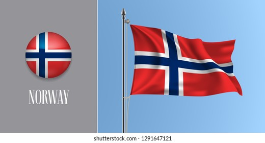 Norway waving flag on flagpole and round icon vector illustration. Realistic 3d mockup of red blue cross Norwegian flag and circle button