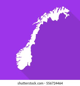 Norway white map,border flat simple style with long shadow on purple background