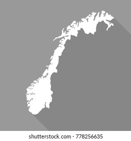 Norway white map,border flat simple style with long shadow on gray background