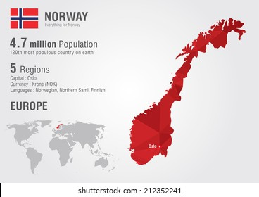 Norway world map with a pixel diamond texture. World geography.