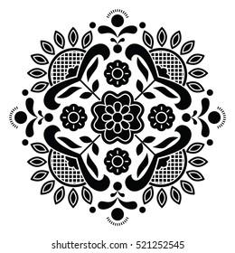 Norwegian black folk art Bunad pattern - Rosemaling style embroidery
