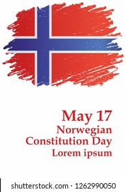 Norwegian Constitution Day is the national day of Norway, May 17. Flag of Norway, Kingdom of Norway. Template for award design, an official document with the flag of Norway. Bright, colorful vector il