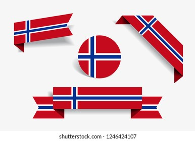 Norwegian flag stickers and labels set. Vector illustration.