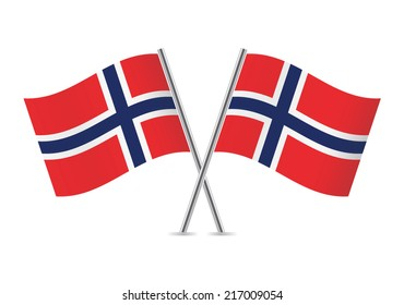 Norwegian flags. Vector illustration.