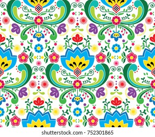 Norwegian folk art vector seamless pattern - Rosemaling style embroidery design Repetitive floral background inspired by traditional art from Norway isolated on white