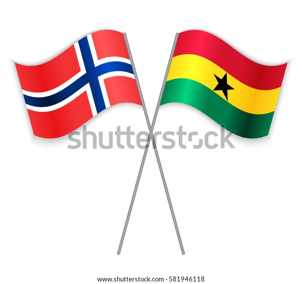 Norwegian and Ghanaian crossed flags. Norway combined with Ghana isolated on white. Language learning, international business or travel concept.