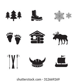 Norwegian icon set. Vector art.