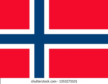 Norwegian or Kingdom of Norway official flag symbol flat vector