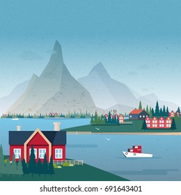 Norwegian landscape panorama. Bay view with buildings and boat. Colorful vector illustration.