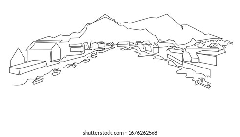 Norwegian Mountain landscape continuous one line vector drawing. Norway, a small town with houses near the shore of the water with fishing boats hand drawn silhouette. Nature, rock panoramic sketch