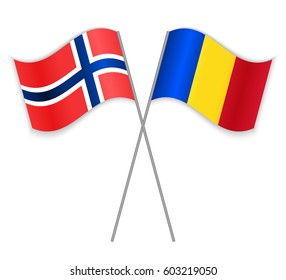 Norwegian and Romanian crossed flags. Norway combined with Romania isolated on white. Language learning, international business or travel concept.