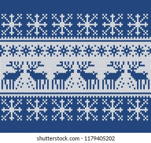 Norwegian sweater deer. Fair Isle Seamless Knitting Pattern