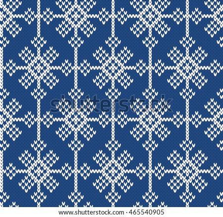 Norwegian Sweater Snowflake Seamless Knitting Pattern Stock Vector
