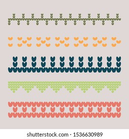 Norwegian traditional ornament. Borders with geometric ornament. Knitting Pattern. Vector.