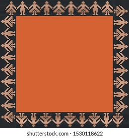 Norwegian traditional ornament. Square frame with anthropomorphic ornament. Knitting Pattern. Vector.