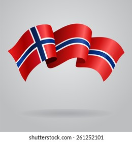 Norwegian waving Flag. Vector illustration Eps 8.