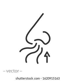 nose icon, sense smell, odour scent, thin line web symbol on white background - editable stroke vector illustration eps10