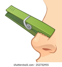 Nose with simple green clothespin