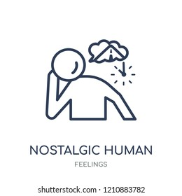 nostalgic human icon. nostalgic human linear symbol design from Feelings collection. Simple outline element vector illustration on white background.