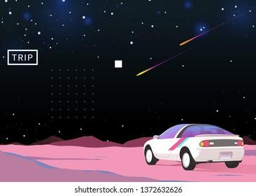 Nostalgic space cosmic sky and vintage coupé car, background illustration