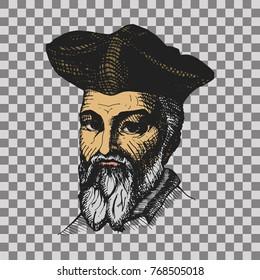 Nostradamus fortune teller, famous predictor. Hand drawn vector illustration