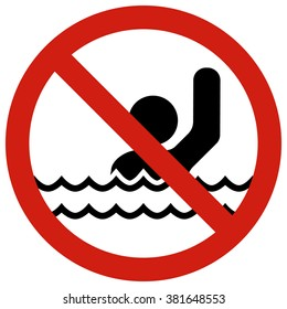 No!Swimming alone. Posters restraining type regulating safe behavior on the water.