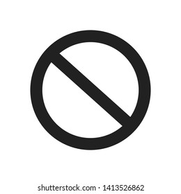 Not allowed icon, not allowed for web, prohibited sign, no entry and exit, flat icon vector illustration