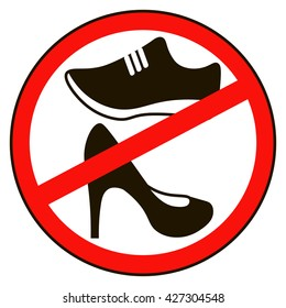 Not allowed shoe sign warning. No symbol. Prohibited public information icon. Stop label. shoe in red round isolated on white background.