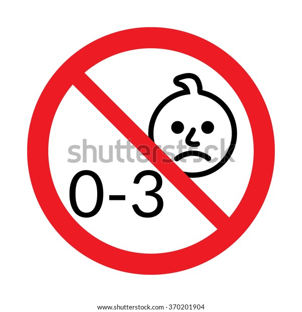 Not for children under 3 years of age icon. Silhouette of a child in red circle, isolated on white background. Warning symbol. Button prohibited from using kid under three years. Vector illustration