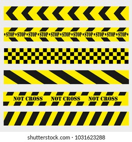 not cross, dangerous places on the road, black and yellow ribbons, vector image, flat style