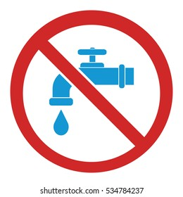 Not drinking water. No water sign. Vector illustration
