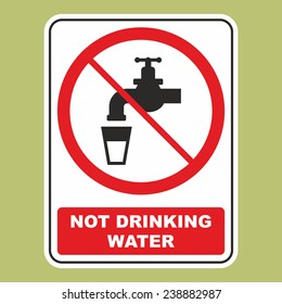 Not drinking water sign isolated on green background