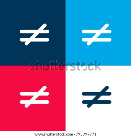 Not Equal Mathematical Symbol Four Color Stock Vector Royalty Free