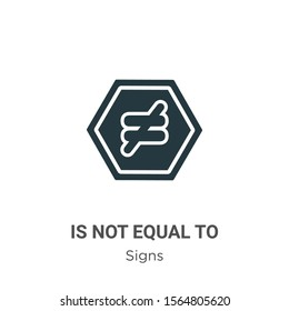 Is not equal to vector icon on white background. Flat vector is not equal to icon symbol sign from modern signs collection for mobile concept and web apps design.
