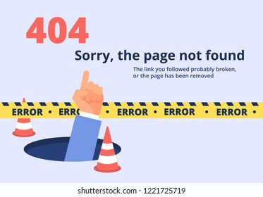 Not found concept. 404 error page design with hand holding message. Vector background