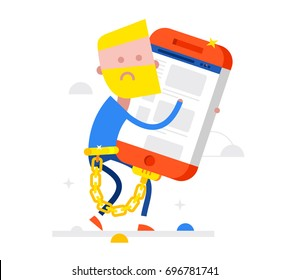 Not happy Businessman carries a big phone tied with a gold chain. Concept Flat Vector Illustration
