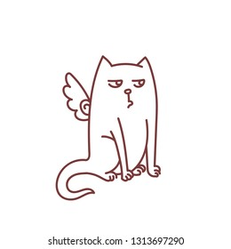Not impressed angel cat with skeptic expression and bird wings sitting pet funny doodle sketch vector illustration isolated on white background