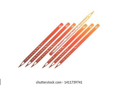Not like everyone else, difference, otherness, social isolation and dissent. One pencil turning to another side among others, outcast, discrimination concept sketch. Hand drawn vector illustration