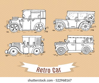 Not realistic retro cars  hand drawn. Nintendo white sketch cars in vintage style.