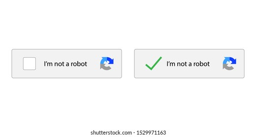I am not robot on white background. vector illustration