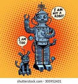 I am not a robot, said robot dog future science fiction retro style