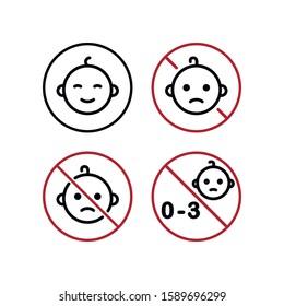 Not Safe For Children. Vector Icon Set.