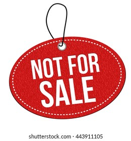 Not for sale red leather label or price tag on white background, vector illustration