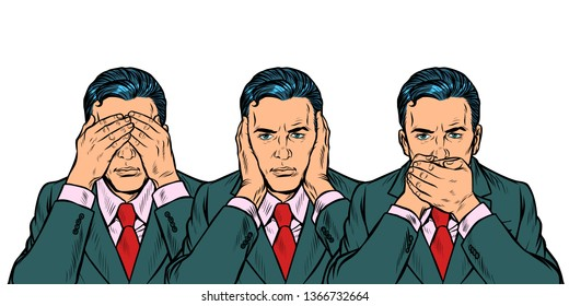 Not see say look concept man businessman. isolate on white background Pop art retro vector illustration vintage kitsch 50s 60s