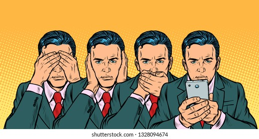 Not see say look, smartphone communication concept. Pop art retro vector illustration vintage kitsch 50s 60s