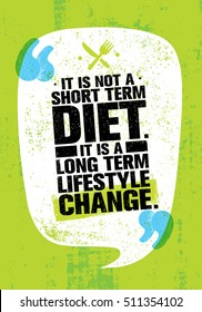 It Is Not Short Time Diet. It Is A Long Term Lifestyle Change. Nutrition Motivation Quote On Grunge Rough Wall Background