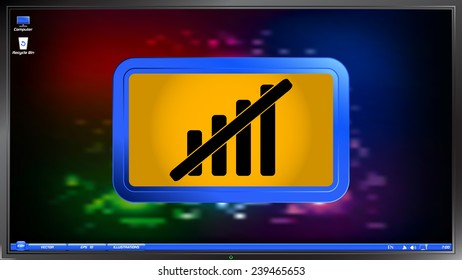 Not signal strength indicators on the screen monitor. Made vector illustration