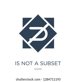 is not a subset icon vector on white background, is not a subset trendy filled icons from Signs collection, is not a subset vector illustration