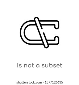 is not a subset vector line icon. Simple element illustration. is not a subset outline icon from signs concept. Can be used for web and mobile
