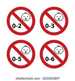 Not Suitable For Children Age Symbols Vector Illustration